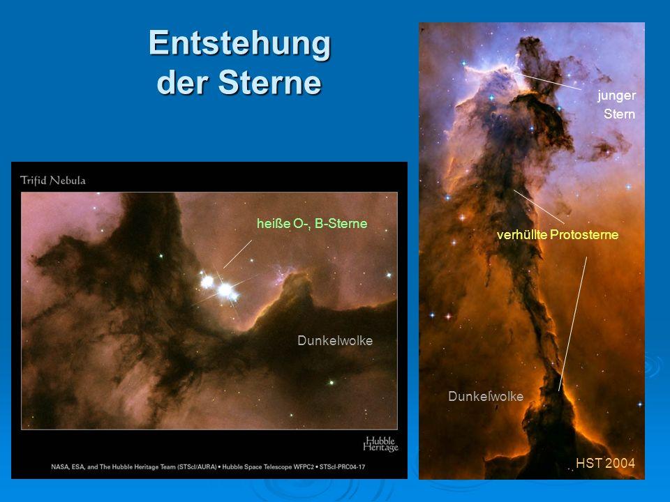 Entstehung der Sterne junger Stern heiße O-, B-Sterne