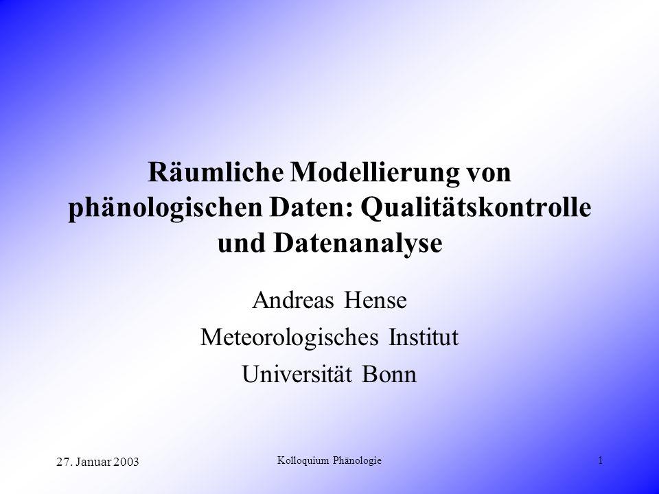 Andreas Hense Meteorologisches Institut Universität Bonn