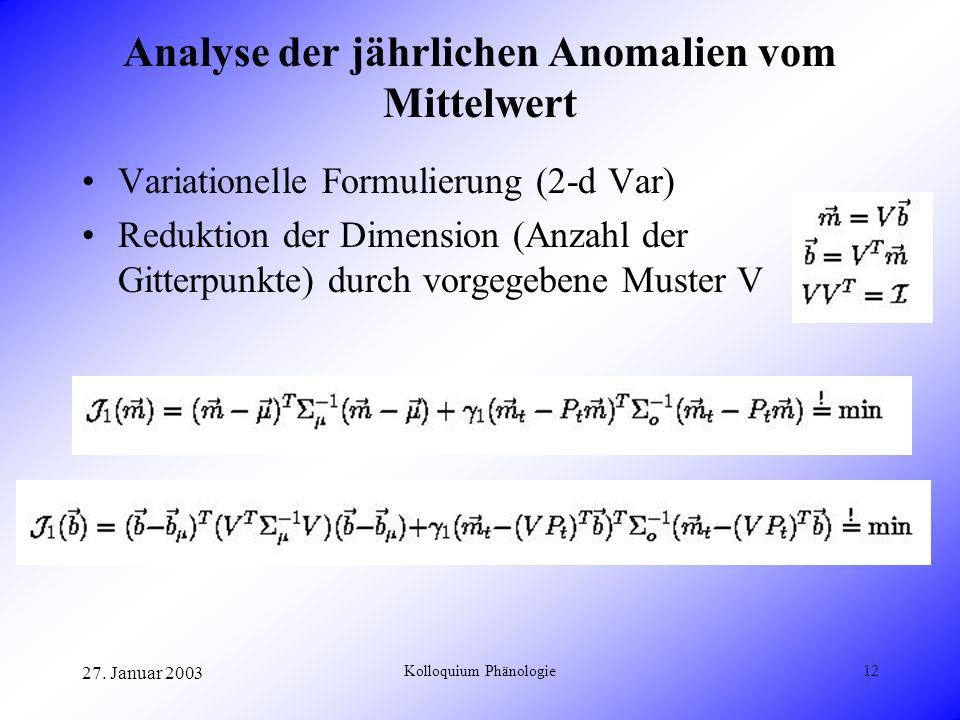 Analyse der jährlichen Anomalien vom Mittelwert