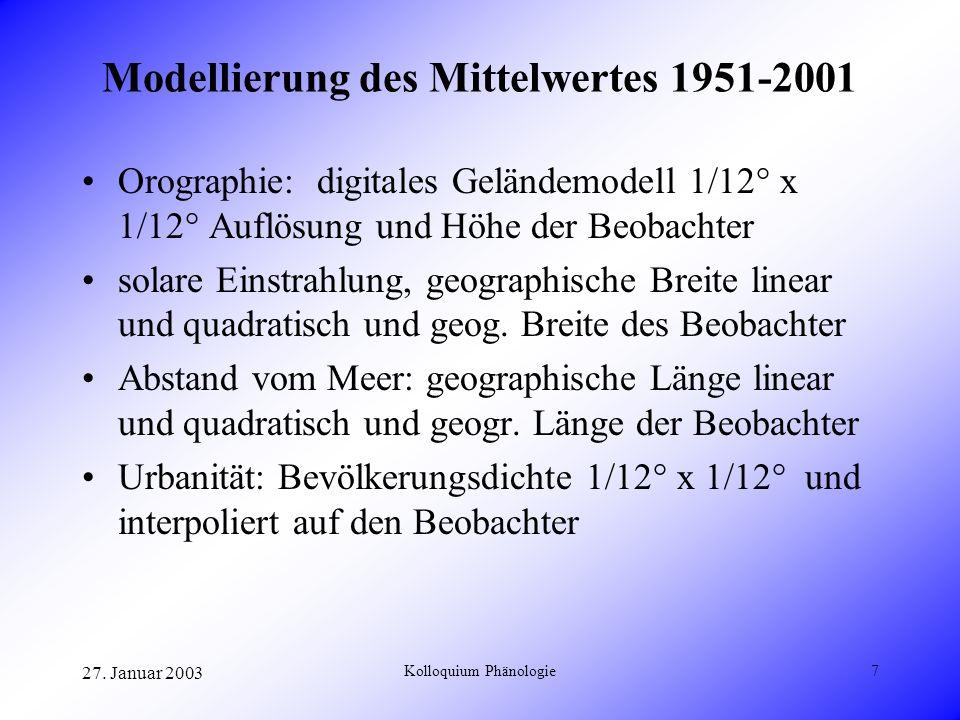 Modellierung des Mittelwertes 1951-2001