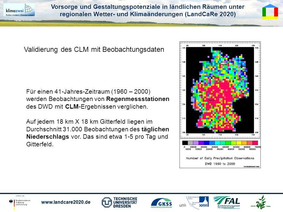 Validierung des CLM mit Beobachtungsdaten