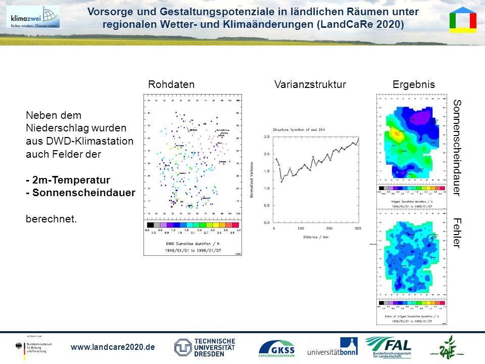 Rohdaten Varianzstruktur. Ergebnis. Neben dem Niederschlag wurden. aus DWD-Klimastation. auch Felder der.