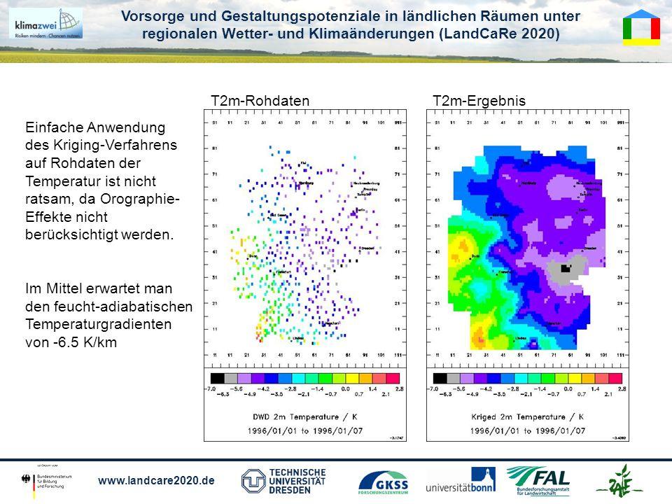 T2m-Rohdaten T2m-Ergebnis. Einfache Anwendung des Kriging-Verfahrens.