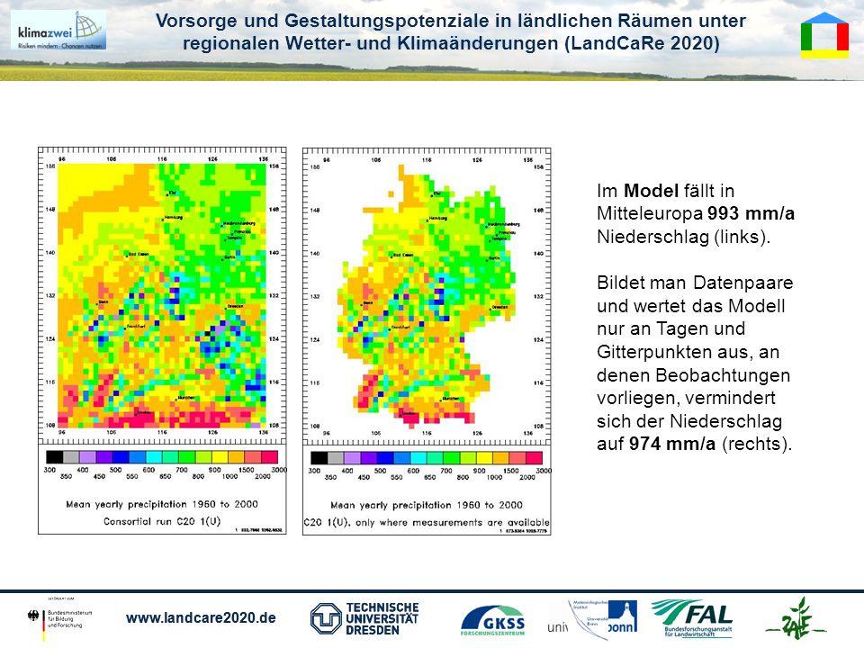 Im Model fällt in Mitteleuropa 993 mm/a Niederschlag (links).