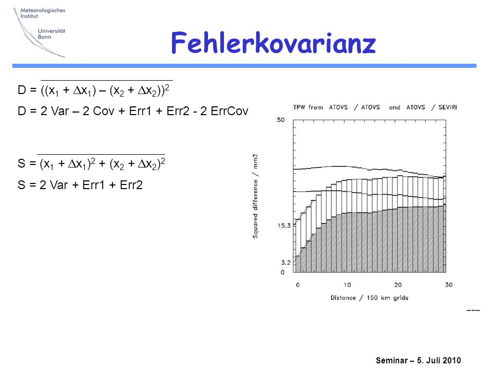 Fehlerkovarianz D = ((x1 + Dx1) – (x2 + Dx2))2