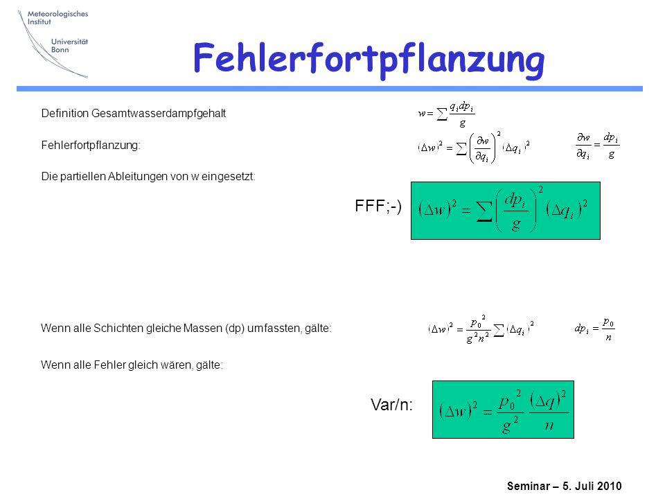 Fehlerfortpflanzung FFF;-) Var/n: Definition Gesamtwasserdampfgehalt