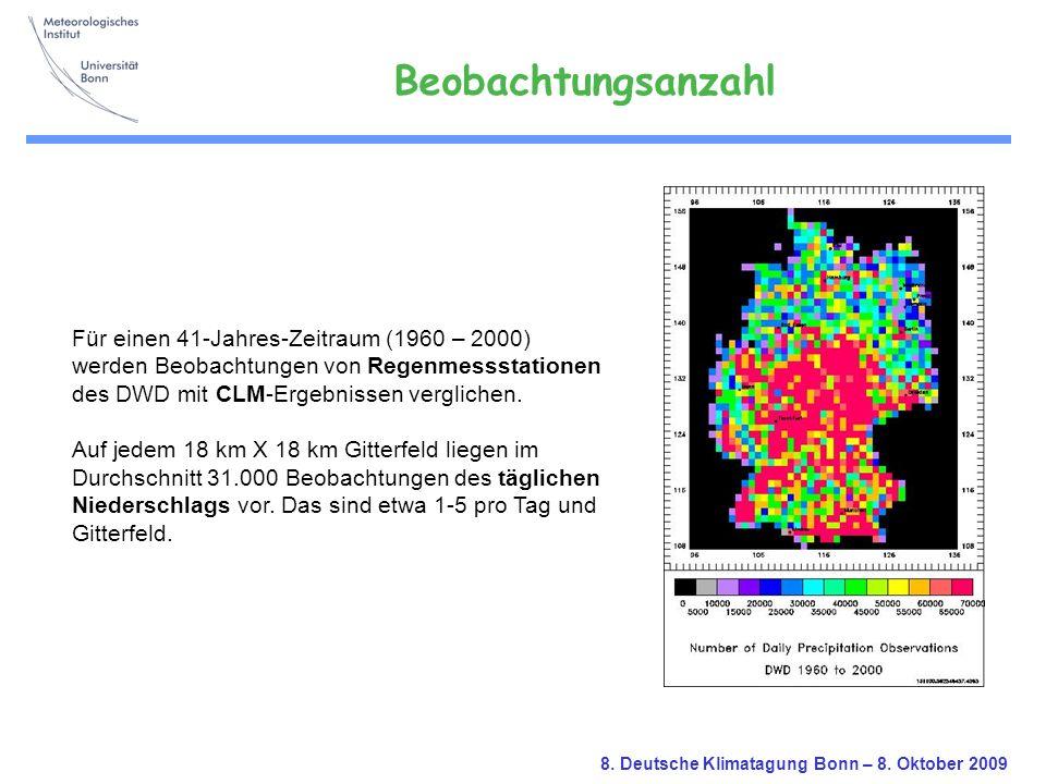 Beobachtungsanzahl Für einen 41-Jahres-Zeitraum (1960 – 2000)