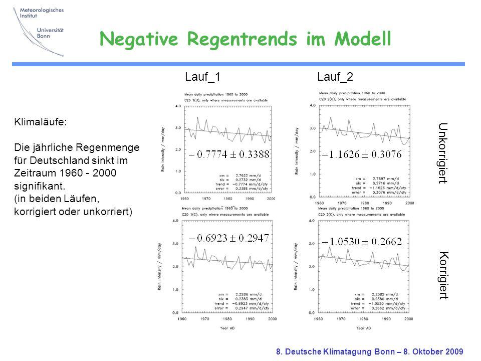 Negative Regentrends im Modell