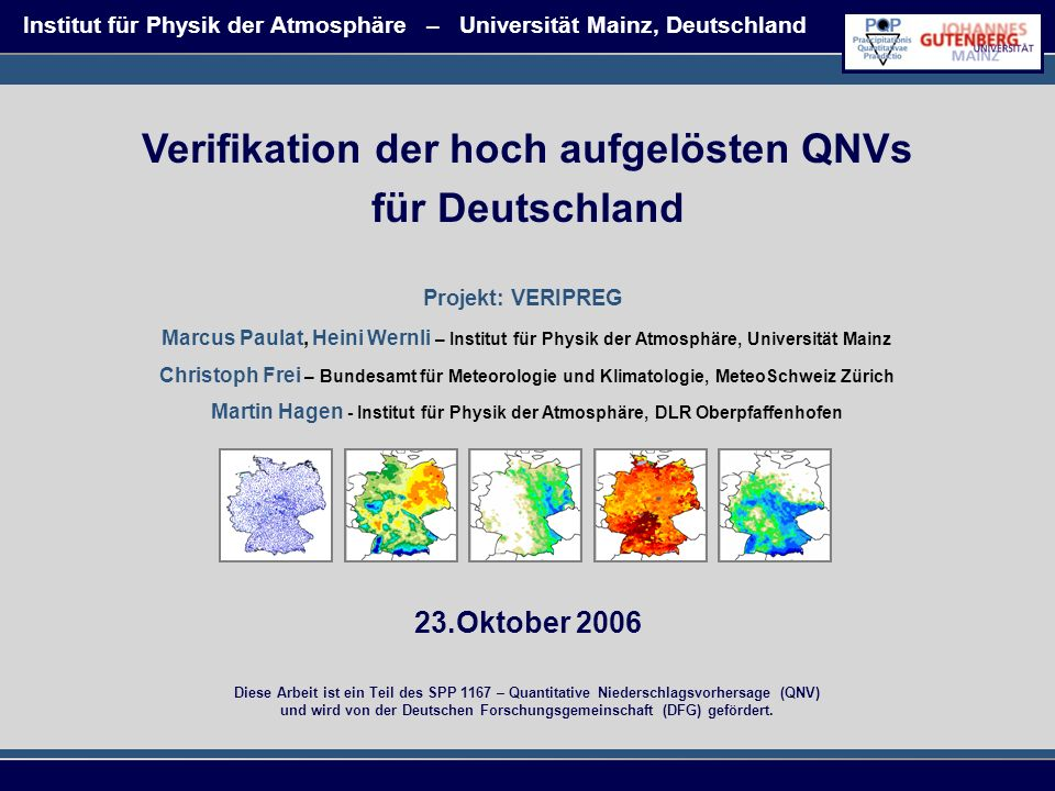 Verifikation der hoch aufgelösten QNVs für Deutschland