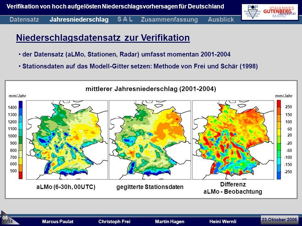 Niederschlagsdatensatz zur Verifikation