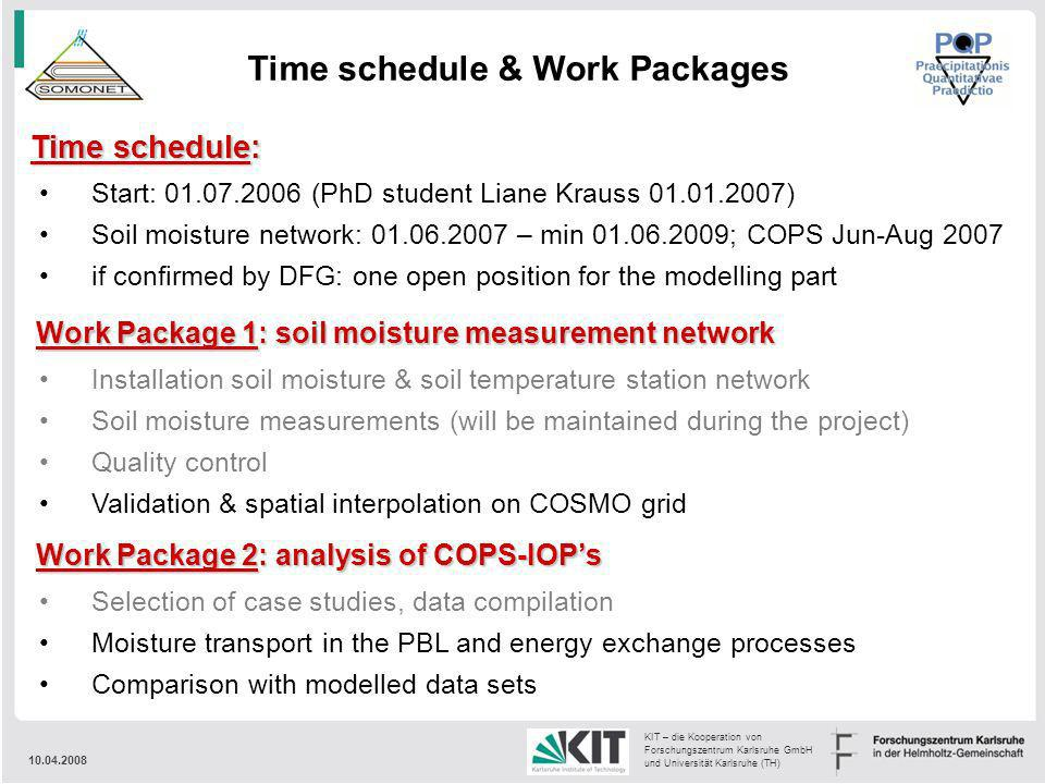 Time schedule & Work Packages