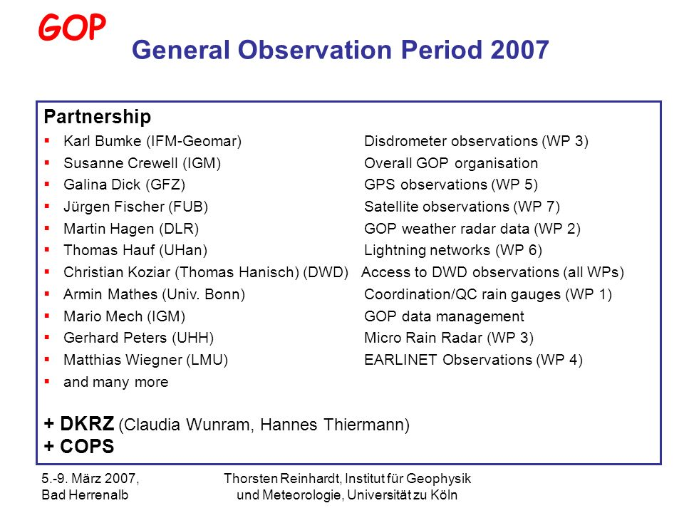 General Observation Period 2007