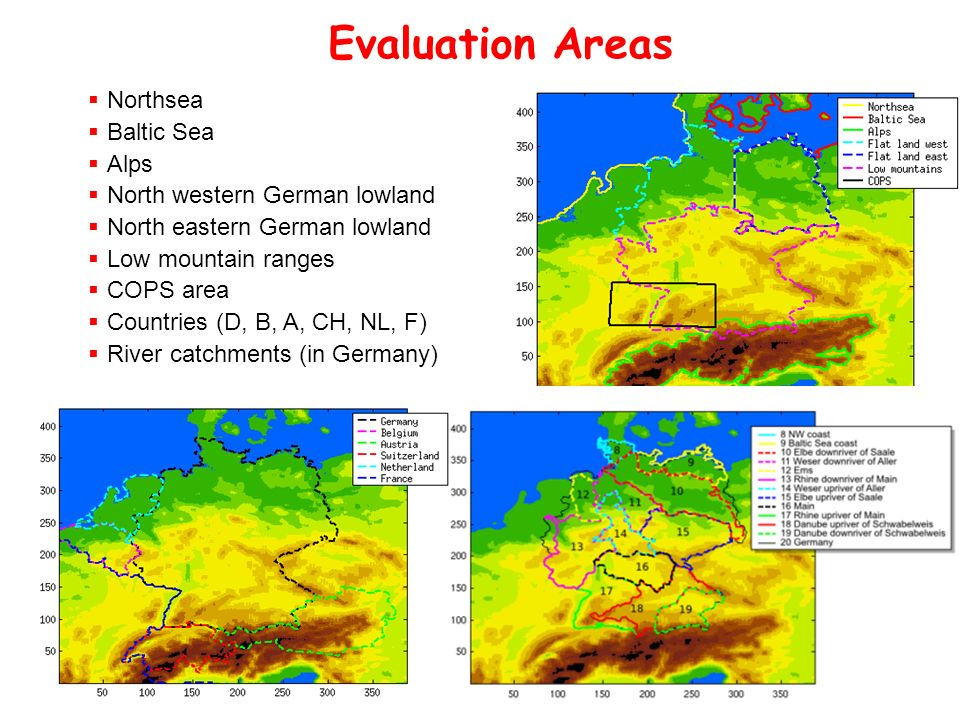 Evaluation Areas LMK domain Northsea Baltic Sea Alps