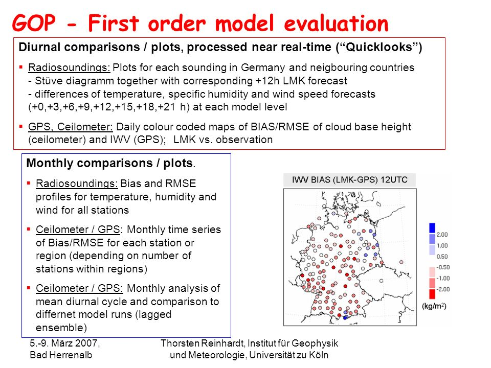 GOP - First order model evaluation