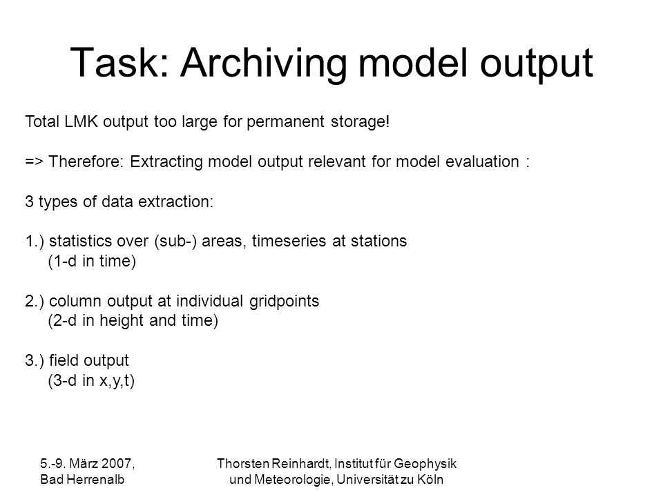 Task: Archiving model output