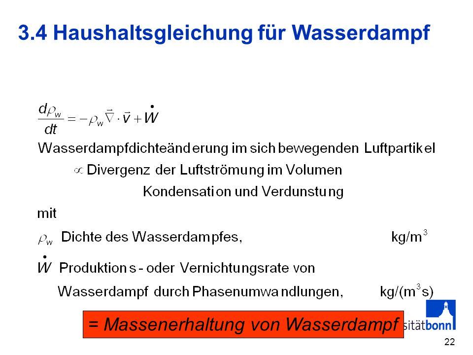 3.4 Haushaltsgleichung für Wasserdampf
