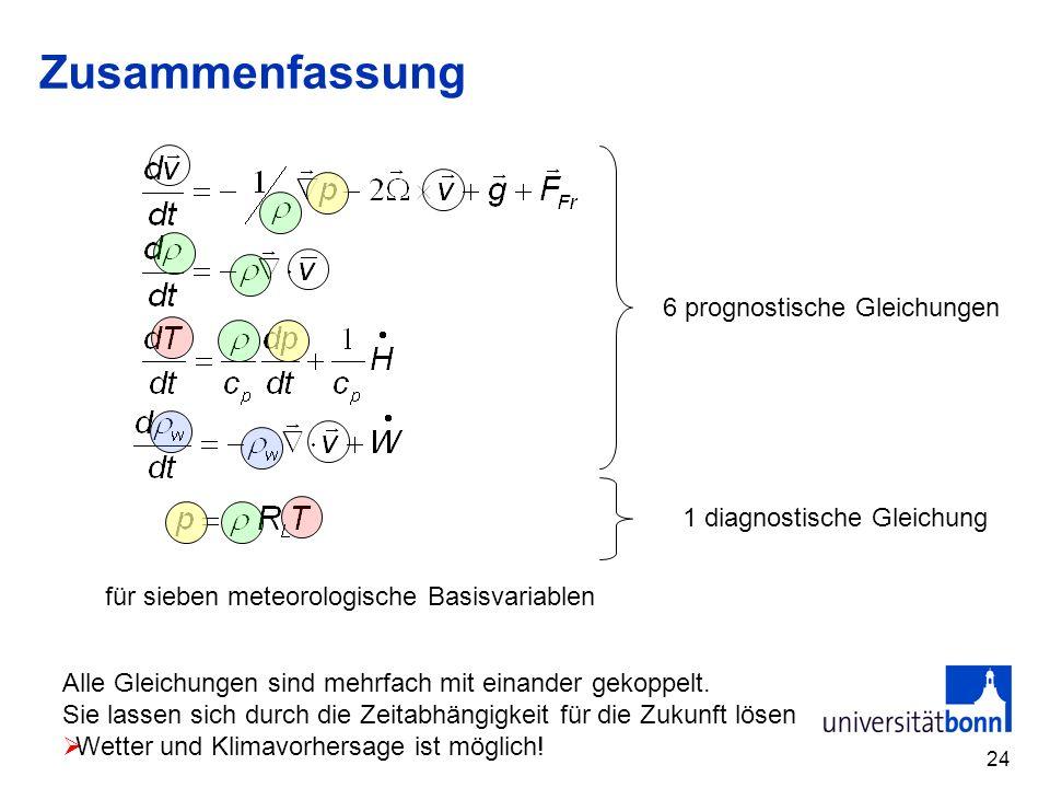 Zusammenfassung 6 prognostische Gleichungen 1 diagnostische Gleichung
