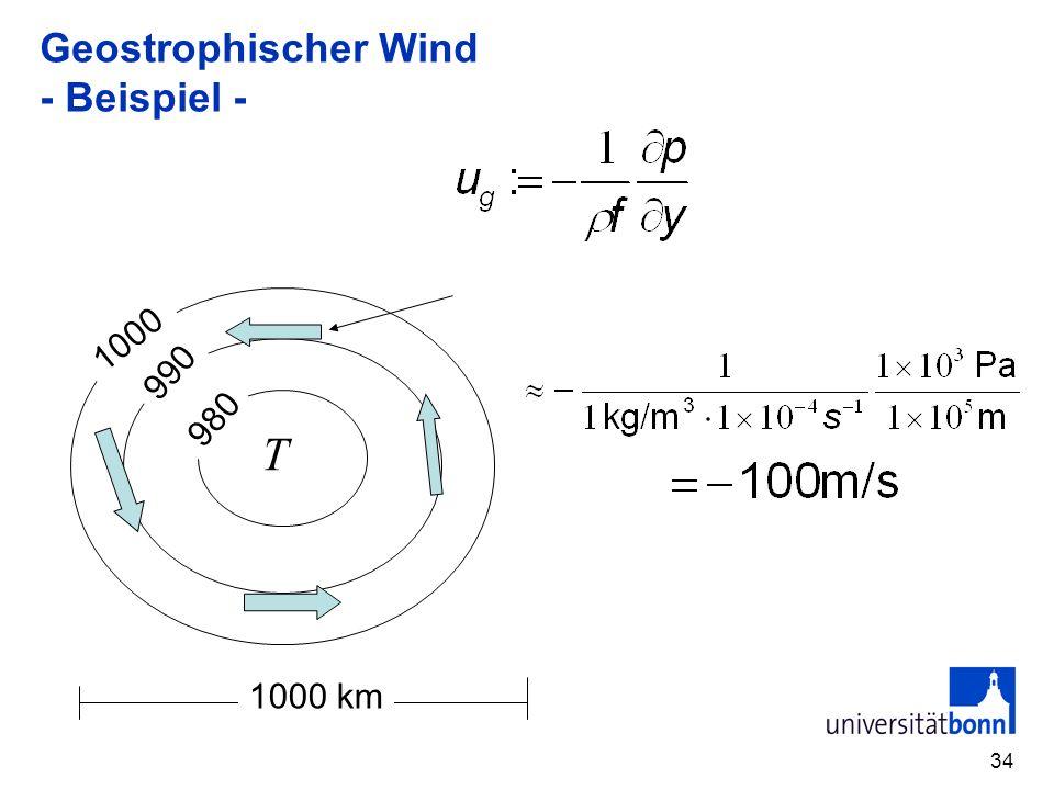 Geostrophischer Wind - Beispiel -
