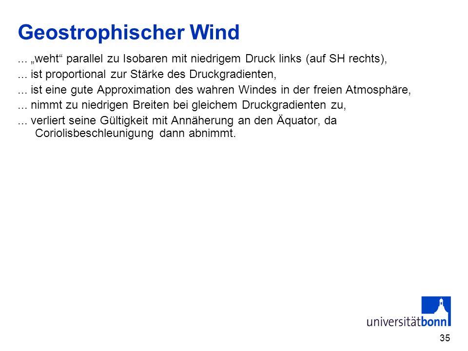 """Geostrophischer Wind ... """"weht parallel zu Isobaren mit niedrigem Druck links (auf SH rechts), ... ist proportional zur Stärke des Druckgradienten,"""