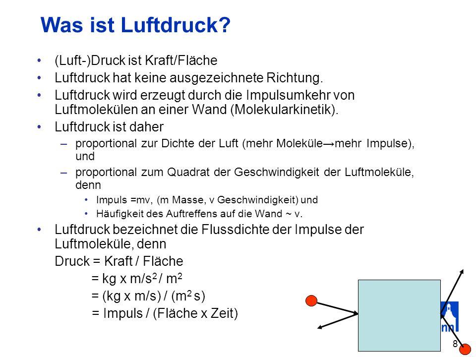 Was ist Luftdruck (Luft-)Druck ist Kraft/Fläche