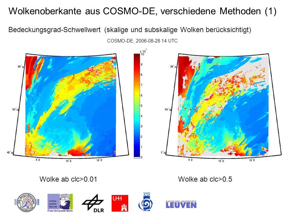 Wolkenoberkante aus COSMO-DE, verschiedene Methoden (1)