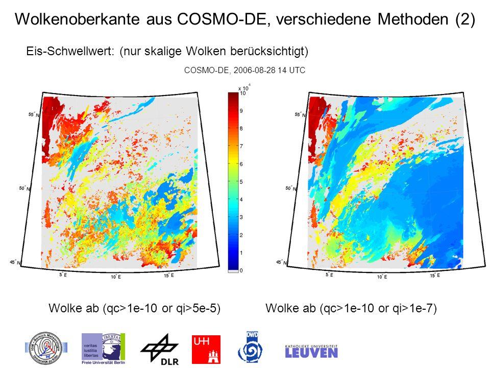 Wolkenoberkante aus COSMO-DE, verschiedene Methoden (2)