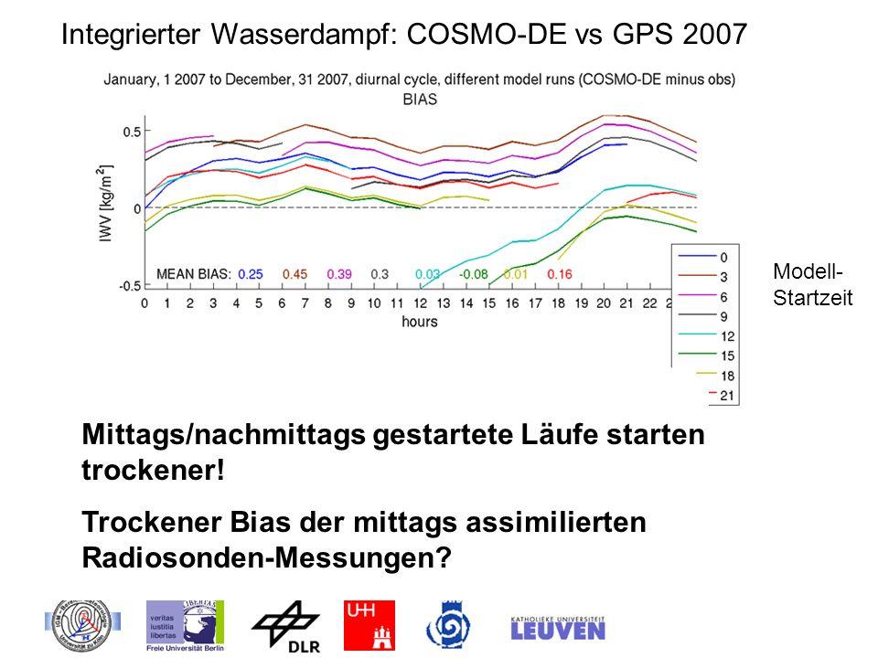 Integrierter Wasserdampf: COSMO-DE vs GPS 2007