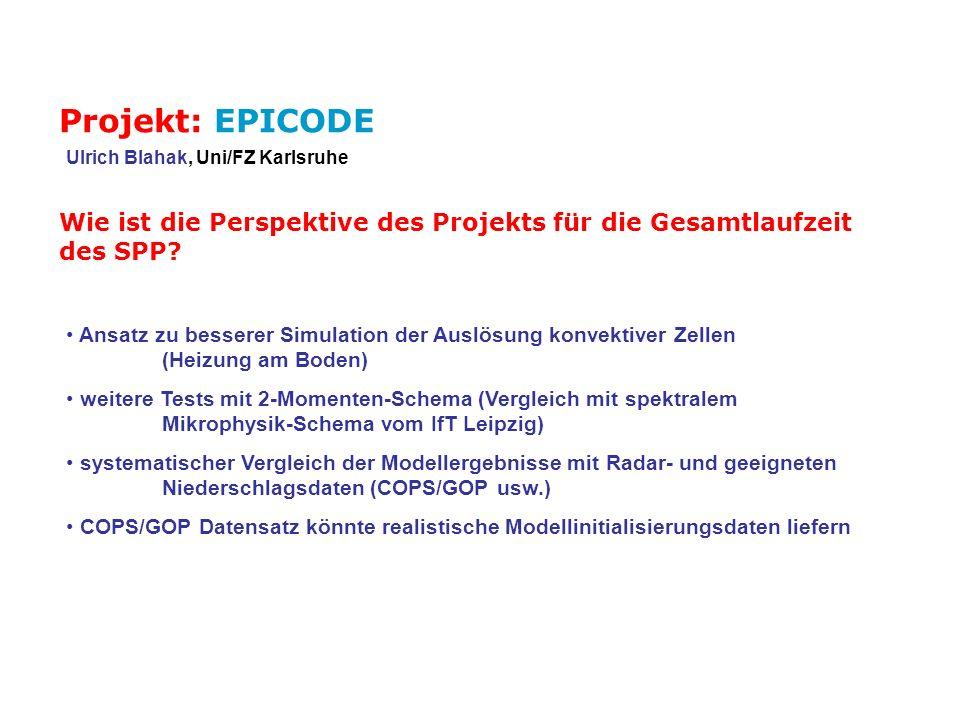 Projekt: EPICODE Ulrich Blahak, Uni/FZ Karlsruhe. Wie ist die Perspektive des Projekts für die Gesamtlaufzeit des SPP