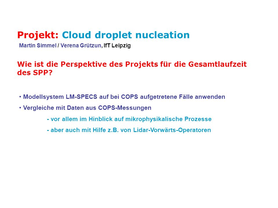 Projekt: Cloud droplet nucleation