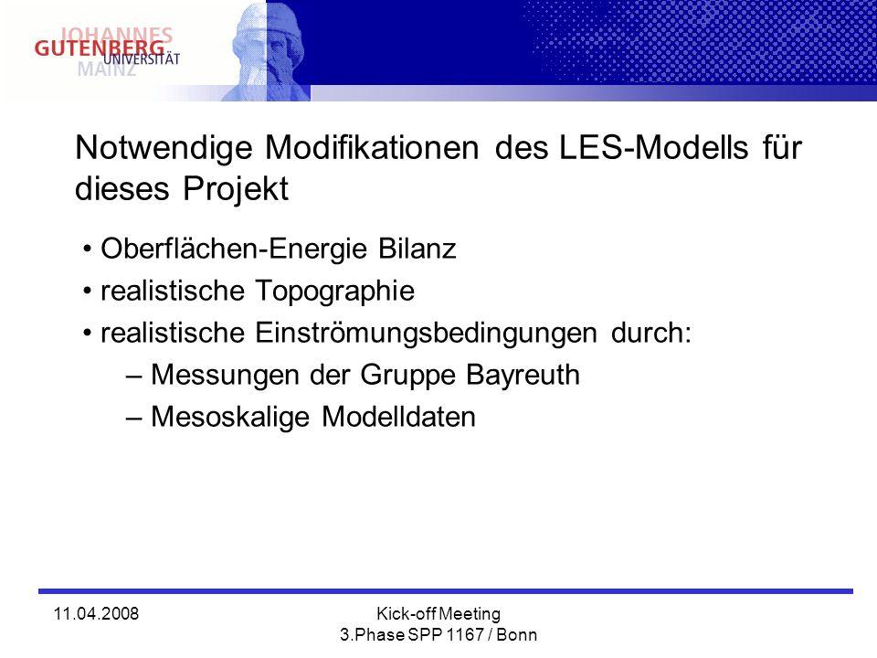 Notwendige Modifikationen des LES-Modells für dieses Projekt