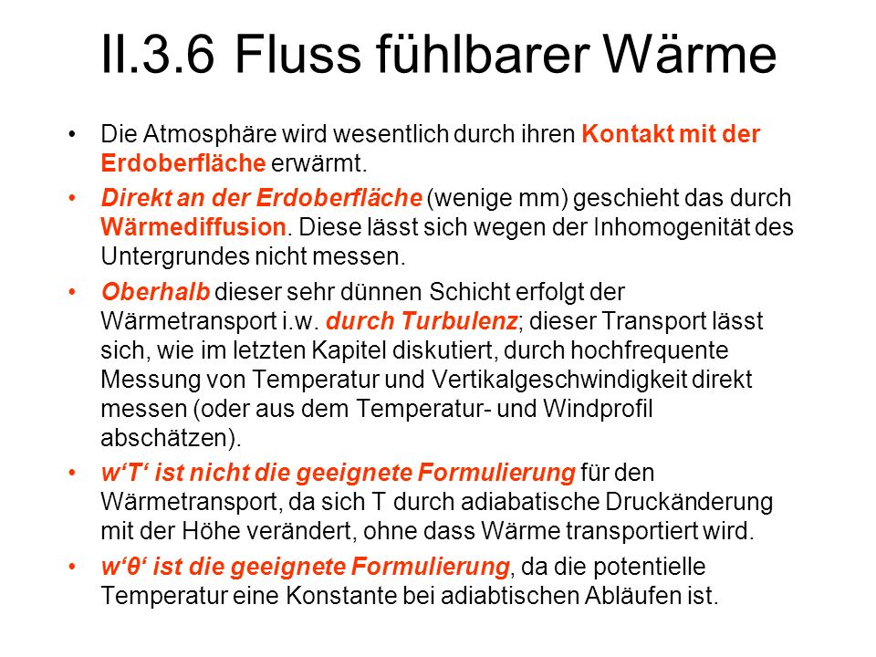 II.3.6 Fluss fühlbarer Wärme