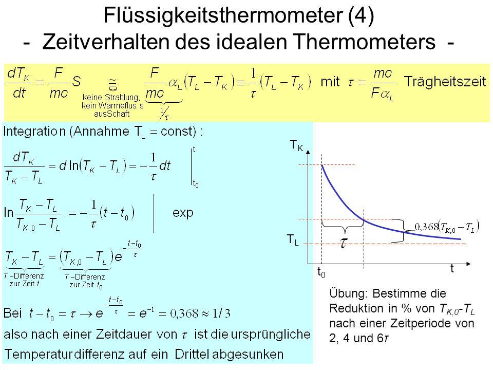 Flüssigkeitsthermometer (4) - Zeitverhalten des idealen Thermometers -
