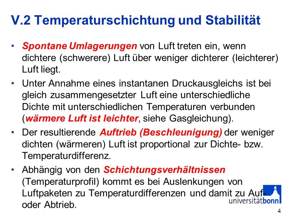 V.2 Temperaturschichtung und Stabilität