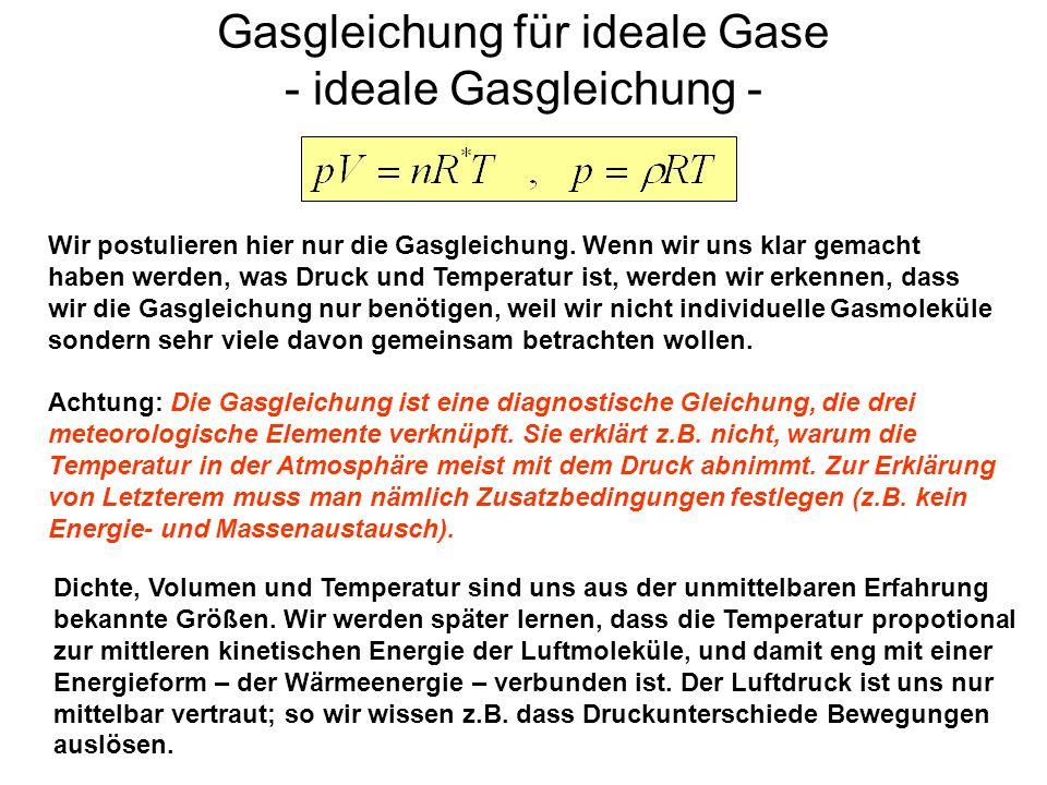 Gasgleichung für ideale Gase - ideale Gasgleichung -
