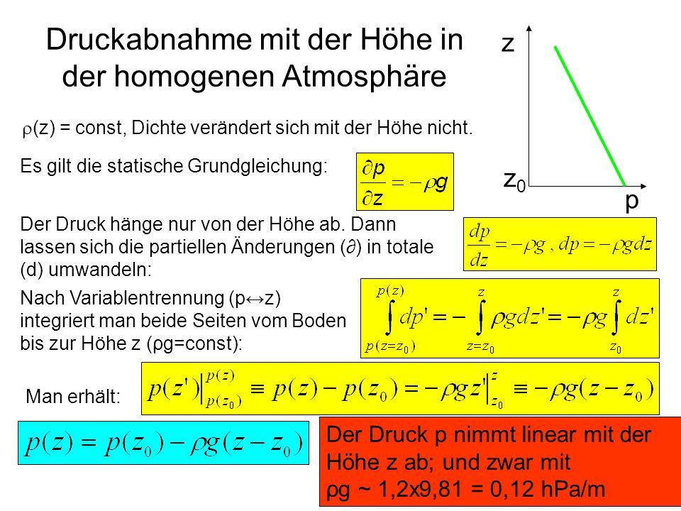 Druckabnahme mit der Höhe in der homogenen Atmosphäre
