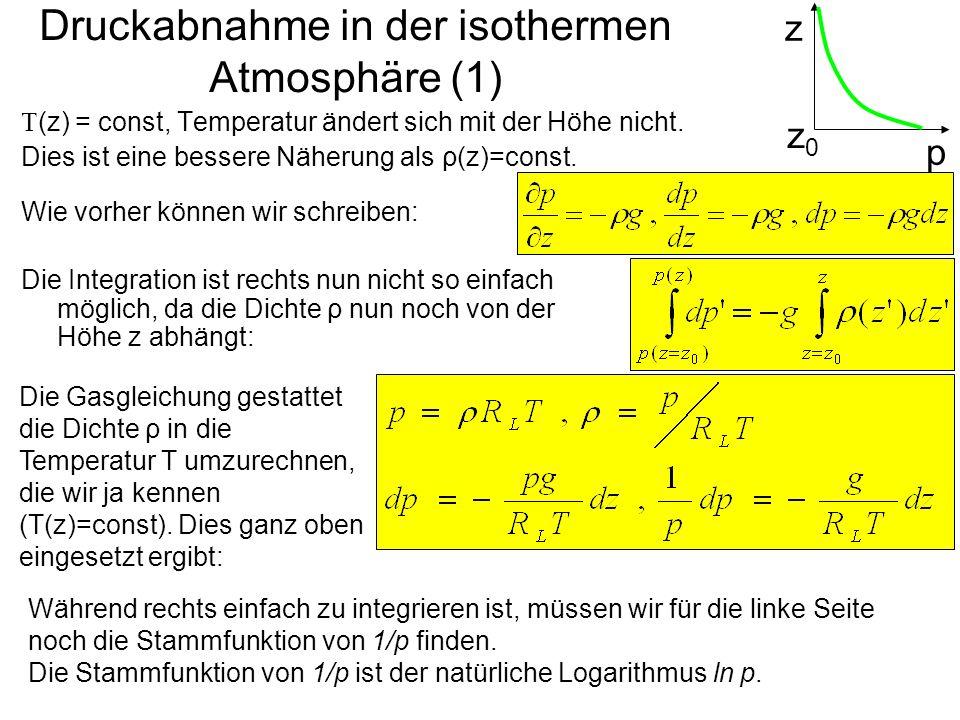 Druckabnahme in der isothermen Atmosphäre (1)