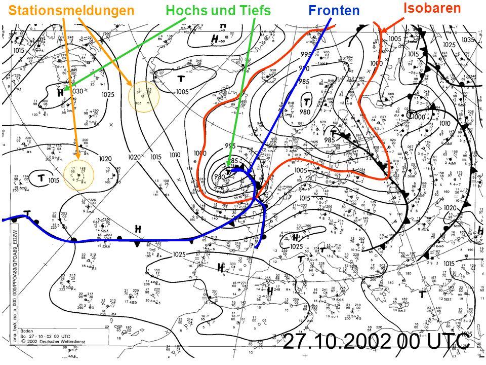 Stationsmeldungen Hochs und Tiefs Fronten Isobaren 27.10.2002 00 UTC