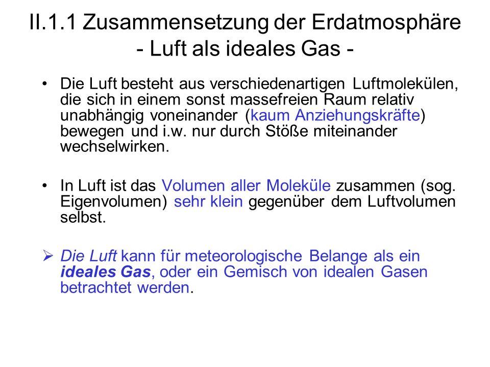 II.1.1 Zusammensetzung der Erdatmosphäre - Luft als ideales Gas -