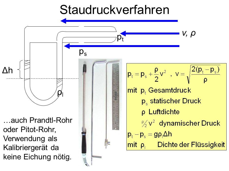 Staudruckverfahren v, ρ pt ps Δh ρl …auch Prandtl-Rohr