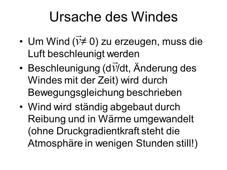 Ursache des Windes Um Wind ( ≠ 0) zu erzeugen, muss die Luft beschleunigt werden.