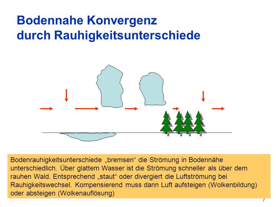 Bodennahe Konvergenz durch Rauhigkeitsunterschiede