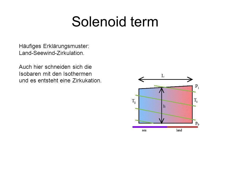 Solenoid term Häufiges Erklärungsmuster: Land-Seewind-Zirkulation.