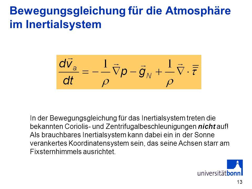 Bewegungsgleichung für die Atmosphäre im Inertialsystem