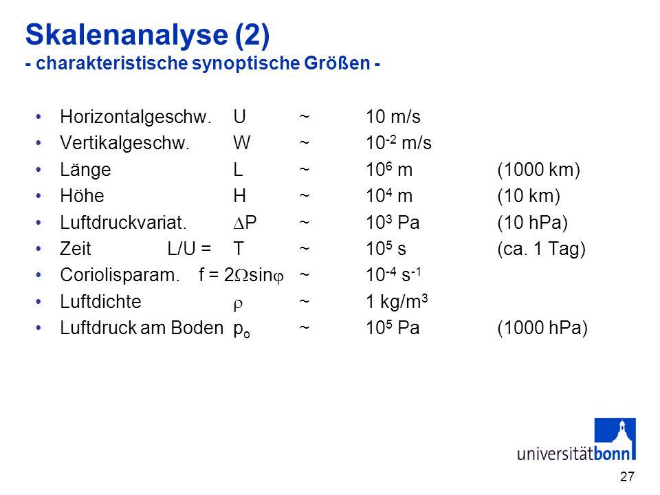 Skalenanalyse (2) - charakteristische synoptische Größen -