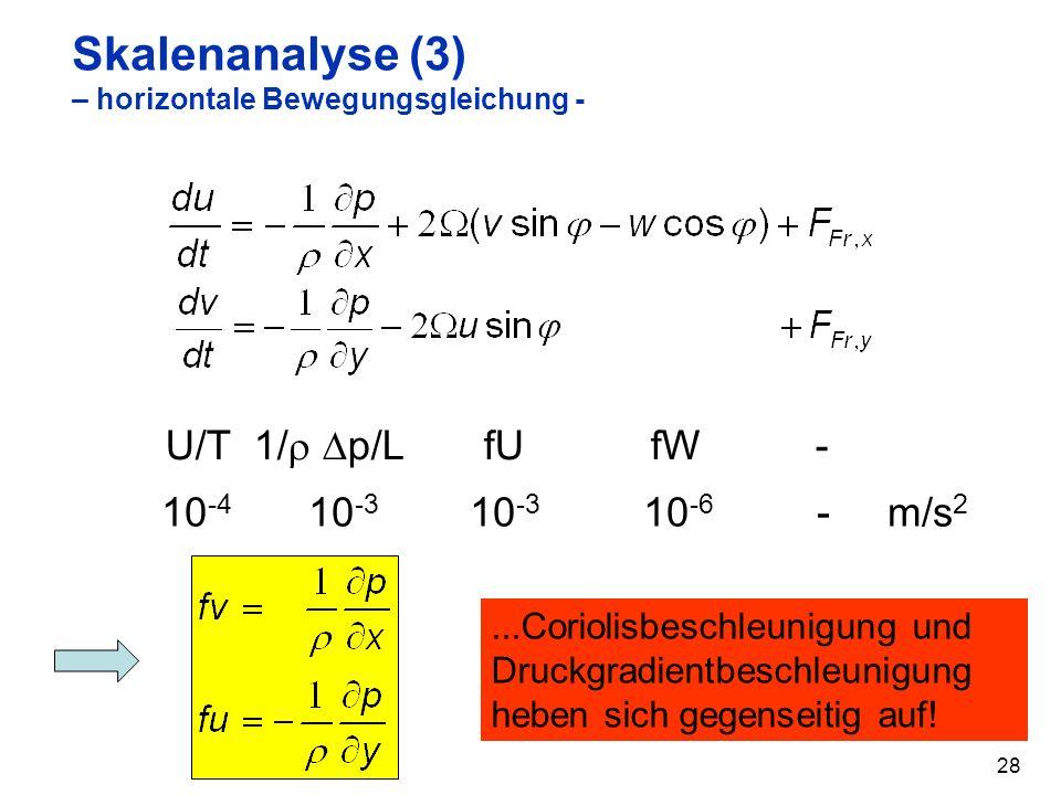 Skalenanalyse (3) – horizontale Bewegungsgleichung -