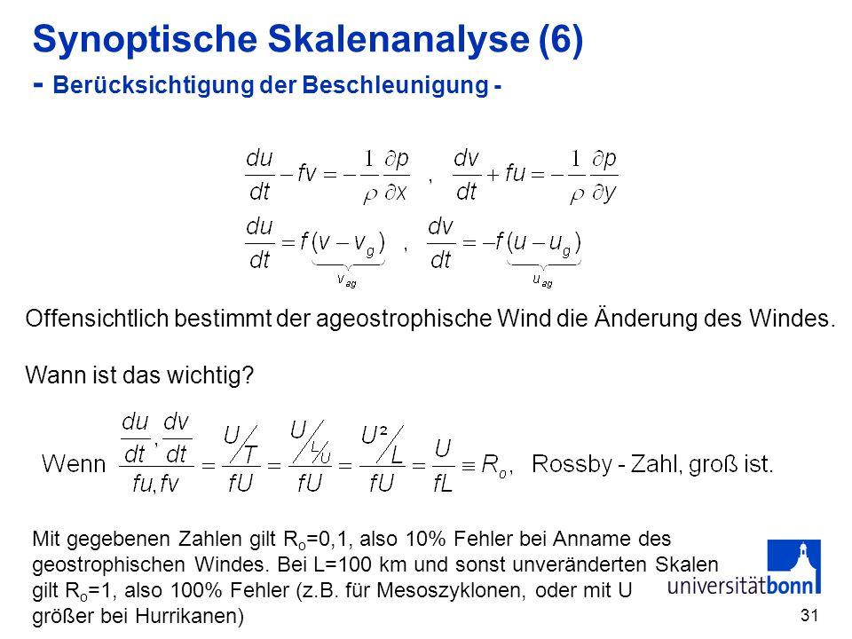 Synoptische Skalenanalyse (6) - Berücksichtigung der Beschleunigung -