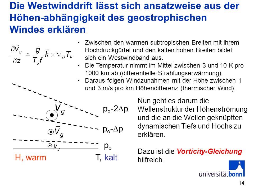 Die Westwinddrift lässt sich ansatzweise aus der Höhen-abhängigkeit des geostrophischen Windes erklären