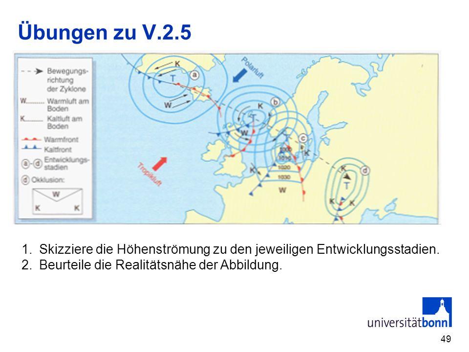 Übungen zu V.2.5 Skizziere die Höhenströmung zu den jeweiligen Entwicklungsstadien.