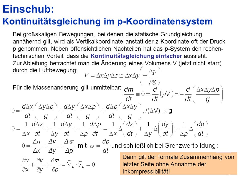 Einschub: Kontinuitätsgleichung im p-Koordinatensystem