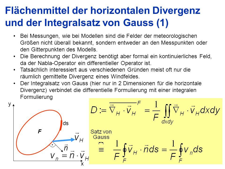 Flächenmittel der horizontalen Divergenz und der Integralsatz von Gauss (1)